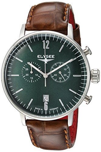 ELYSEE Men's Stentor 42mm Brown Leather Band Steel Case Quartz Green Dial Analog Watch 13296