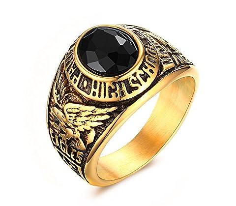Vnox Men's Stainless Steel Black Gemstone Class Ring High School Signet Band Gold UK Size T 1/2