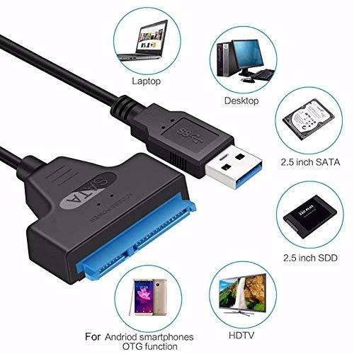 SUNDELLAO USB 3.0 SATA 3 Kabel Sata zum USB-Adapter bis zu 6 Gbps Unterstützung 2,5 Zoll Externe SSD HDD Festplatte 22 Pin Sata III Kabel BTZ1, 0,2m