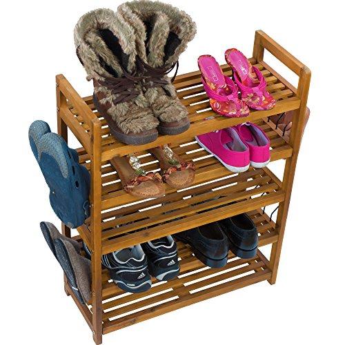 Schuhregal Schuhschrank Regal Schuhständer Schuhablage - 5 Etagen - Akazien Holz - Schuhregal auch für draußen geeignet