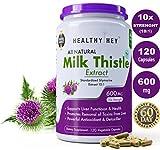 #10: HealthyHey Milk Thistle Extract 600 mg, 120 Vegetable Capsules | 10:1 (Silymarin Marianum) - Milk Thistle Supplement