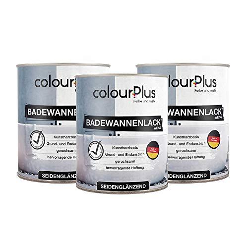 colorPlus Badewannenlack (3x750ml, Weiß), seidenglänzender Premium-1K-Speziallack, optimal für Badewannen, Waschbecken, WC's, Made in Germany