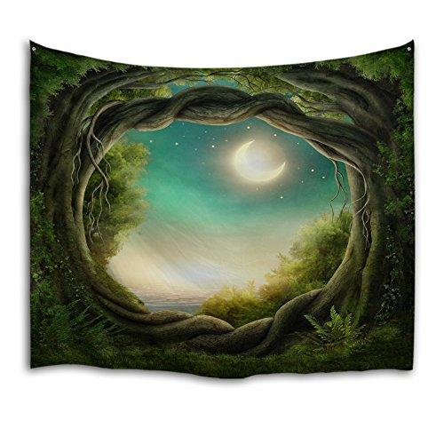 Qiyi casa parete appeso natura arte tessuto in poliestere arazzo per dormitorio,camera da letto,soggiorno decorazioni 229cmx153cm-fantasy forest