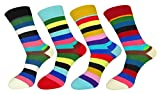FULIER Mens 4 Pack Cotton Rich Fashion Stripe Design Dress Calf Crew Socks UK 6-11