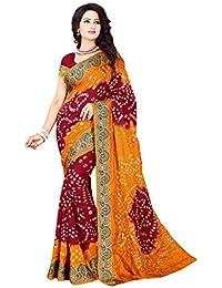 Vinayak Textiles Women's Cotton Jacquard Saree (VTBNDP3007-7_Mustard & Maroon_Free Size)
