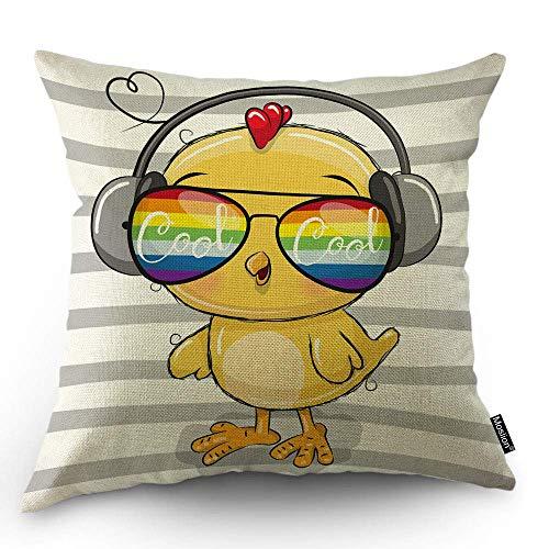 Chick Kissenbezug Cooles gelbes Huhn mit Regenbogen Sonnenbrille Kopfhörer in grau-weißen Streifen Dekokissen Fall Baumwolle quadratische Kissen dekorative Abdeckung für Schlafsofa, 45 x 45 cm