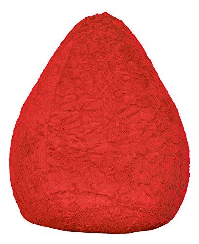Lumaland Luxury Fluffy Sitzsack stylischer Webplüsch Beanbag 120L Füllung verschiedene Farben Rot
