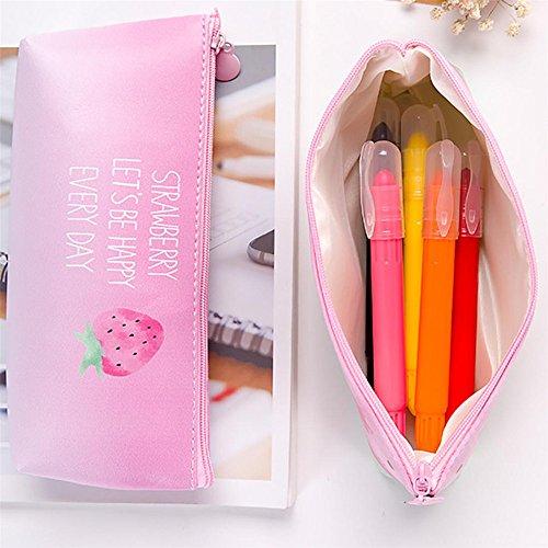 Longra Donna Sacchetto di immagazzinaggio del sacchetto della matita dell'unità di elaborazione impermeabile semplice della fragola Rosa_B