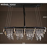 SDKKY American rettangolare rustico bar sala da pranzo stile loft a personalità creative industriale acqua vento lampadario di cristallo , B