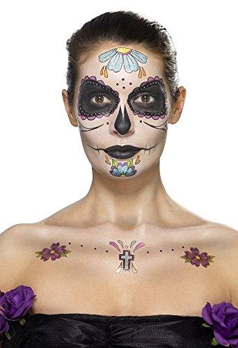 Smiffy's 41569 - Tag der toten Gesichts-Tätowierung Transfers Kit  Gesichtsfarben- Gem Aufkleber Crayon und (Up Hexe Kostüme Make)