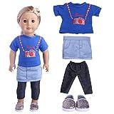 4 pcs Top + Jupe + Leggings + Chaussures Vêtements de poupée pour 18 pouces poupée fille américaine et d'autres poupées 43-46 cm
