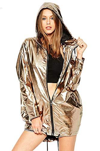 Fasumava Damen Outwear Winter Casual Komplette Zip - Kapuzenpulli Wasserdicht Falsche Metallic Gold S