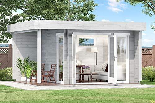 CARLSSON Alpholz Gartenlounge Dani-44 aus Massiv-Holz   Gartenhaus mit 44 mm Wandstärke   Garten Holzhaus inklusive Montagematerial   Geräteschuppen Größe: 448 x 398 cm   Flachdach