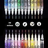 Aliyer Acrylstifte Marker Stifte, permanent Marker 24 Farben 0.7mm Strichstärke, ungiftig, zum Bemalen von Steinen, Keramik, Glas, Leinwand, Tassen, Holz und Ostereiern.