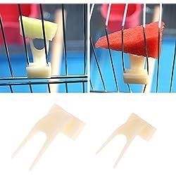 Girasool Horquilla de Frutas para Loro, 2 Piezas de plástico para Alimentar Loros y pájaros, Accesorio para pájaros, Soporte de Alimentos, Pinza para alimentador de Animales pequeños