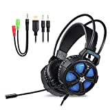Qingta Gaming Headset, Comfortable 3.5mm Stereo Gaming LED Lighting Over-Ear Noise Cancelling Headphone with Mic & Volume Control for PC 001 (blue)