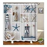 Bishilin Badvorhang Anti-Schimmel Seestern Treibenden Flaschen 3D Lustiger Duschvorhang Polyester-Stoff 165X200
