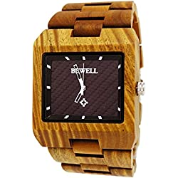 12Pure Time® Designer Mens Wood Watch in Brown with Carbon dial Wooden Watch Box Black