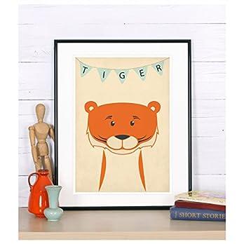 Tiger, Kinderzimmer Bild, Poster, Tiere, Bild, Kinderzimmer Deko, Bild für Kinder, Kunstdruck, Bild für Kinderzimmer