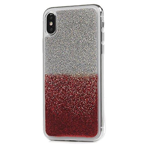 iPhone X Cover Silicone e Bling Glitter Brillanti, Custodia Morbida TPU Flessibile Gomma QuickSand Stella - MAXFE.CO Case Sottile Cassa Protettiva per iPhone X - Viola Bling Rosso