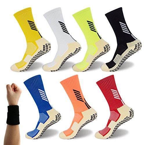 Dee Plus Rutschfeste Fußball Socken Basketballsocken/Yoga Socken Noppen Sohle Damen & Herren Socken Anti Rutsch Socken Stoppersocken Noppensocken (Weiß Orange Schwarz Rot Gelb Blau Grün Blau)