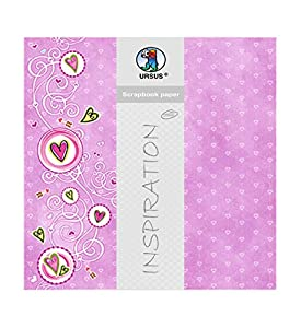 Ursus 703000157-Premium Glitter Scrapbook Paper Sweetheart, Aprox. 30,5x 30,5cm, 5Hojas, diseño 157