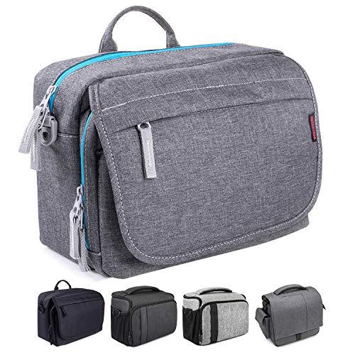 Bodyguard SLR Messenger Bag Kameratasche für Spiegelreflexkameras grau für Body und 2-3 Objektive für Canon EOS 70D 77D 80D 200D 1300D 2000D 4000D 760D 800D Nikon D3500 D5500 D5600 D7200 D7500