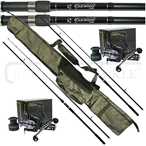 oakwood-12ft-25tc-rods-x-2-double-handle-bait-runner-reel-x-2-carp-holdall-fishing-set