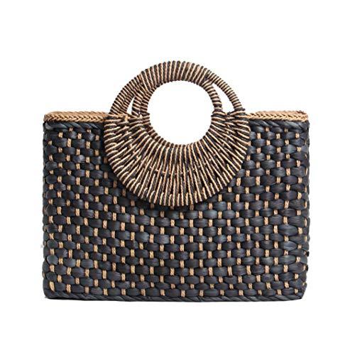 TOBEEY Hand Basket Einkaufstasche Bali Island Handgewebte Schnalle Stroh Taschen Satchel Bohemia Beach Handtasche