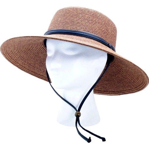 Sloggers - Femme tressé à Large Bord Chapeau de Soleil avec Vent Cordon - nominale UPF 50 + Protection Solaire maximale