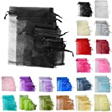 TtS 50pcs 9x12cm Organza Gift Bags Wedding Party Favour Jewellery Packing Pouches - Black