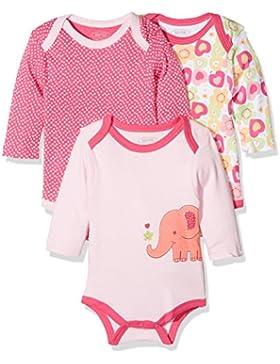 Schnizler Baby-Mädchen Langarm Body 3er Pack Elefant, Oeko-Tex Standard 100