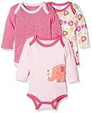 Schnizler Baby-Mädchen Body Langarm, 3er Pack Eule, Oeko-Tex Standard 100, Rosa (original 900), 62 (Herstellergröße: 62/68)