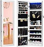 HOUSE DAY Schmuckschrank 6 LEDs Schmuckschrank Organizer mit Spiegel Abschließbare Wandtür Schmuckschrank Organizer mit Vollspiegel (Weiß)
