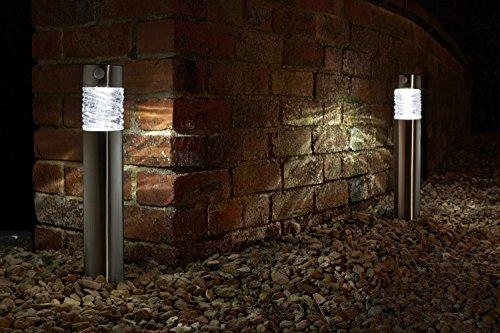 2er LED Solarleuchte mit Bewegungsmelde aus hochwertigem Edelstahl und echtem Glas hergestellt | exklusive Solar Lampe, perfekt für Garten Dekoration, Wegbeleuchtung und vieles mehr (einzeln)