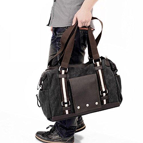 Everdoss Hommes Sac à main en Toile sac à bandoulière sac d'épaule messager sac de loisirs voyage grand à la mode