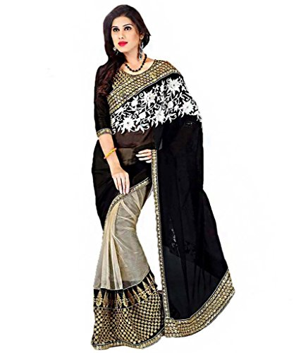 Kmozi's Goergette with heavy Net Black colour Embroidey Designer saree