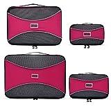 PRO Packing Cubes   Packwürfel im 4-teiligen Sparset   Taschen mit 30% Platzeinsparung   Ultraleichte Gepäckverstauer   Ideal für Seesäcke, Handgepäck und Rucksäcke (Pink)