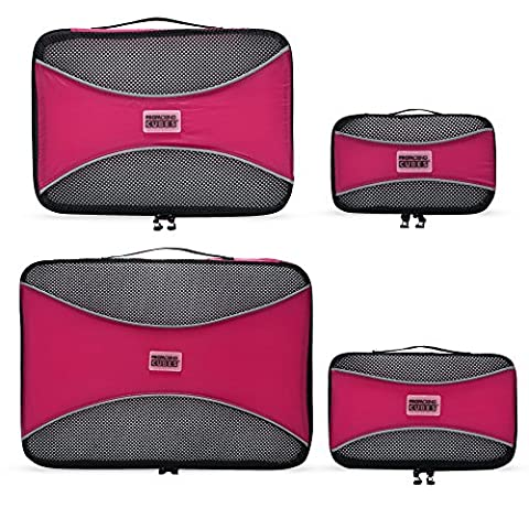 PRO Packing Cubes | 4 Piece Travel Packing Cube Value Set | 30% Space Saver Bags | Ultra Lightweight | Great for Duffel Bags, Carry on Luggage, and Backpacks (Pink)