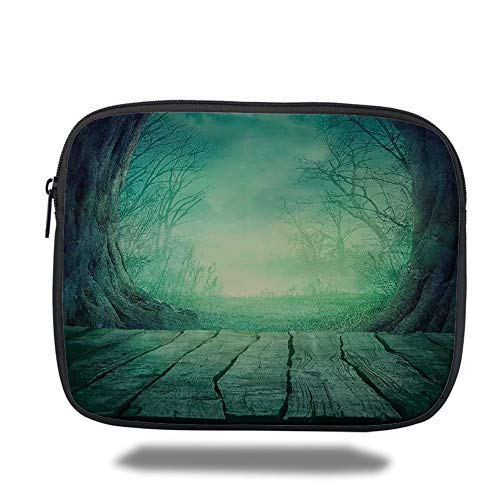Tablet Bag for Ipad air 2/3/4/mini 9.7 inch,Gothic,Spooky Scary Dark Fog Forest with Dead Trees and Wooden Table Halloween Horror Theme Print,Blue,Bag