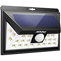 Mpow Luz Cálida Amarilla Luz Solar,Sensor de Movimiento 10-11m Sensor Gran Angular 120° 24 LEDs Foco Energía Solar al Aire Libre, Foco Solar Led Exterior,Seguridad Inalámbrica a Prueba de Agua Para Patio, Terraza, Patio, Jardín