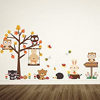 AWAKINK Cartoon Tree Lovely Animals Owl Rabbit Bear Wall Stickers Wall Decal Vinyl Removable Art Wall Decals for Girls and Boys Nursery Room Children's Bedroom