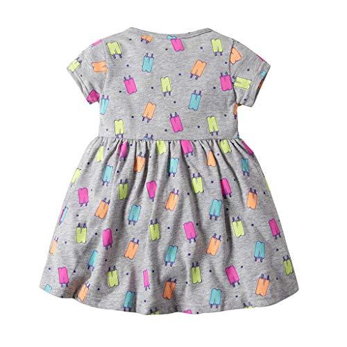 JUTOO Neue Kleinkind Kind Baby Mädchen Kurzarm Blumenkleid Princess Romper Dresses Kleidung (Grau,18M)