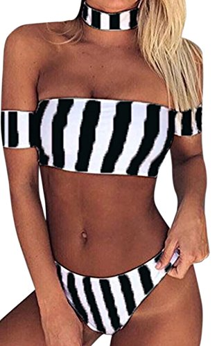 Vian Lundgaard - Damen Frauen Bikini Bandeau in gestreift, XS-XL, Viele Farben Schwarz