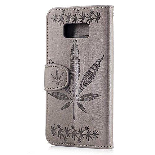 YHUISEN Galaxy S8 Plus Case, geprägtes Ahornblatt Design PU Leder Flip Wallet Stand Case mit Card Slot für Samsung Galaxy S8 Plus ( Color : Gold ) Gray