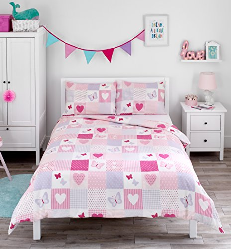 tchwork mit Herzen & Schmetterlingen - Bettwäscheset für Kinder - Rosa - Bettbezug 200cm x 200cm und 2 Kissenbezüge für Doppelbett ()