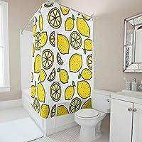Zhcon Lemons Theme Shower Curtain Liner with Free Hooks Washable Bathroom Decor sour Bath Decor36x72inch white 120x200cm