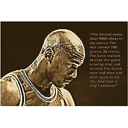 éxito cita Póster Michael Jordan Baloncesto Deportivas Ventilador 24x 36–2A 5días de EE. UU de envío