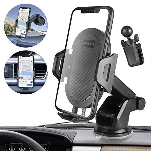 bokeyu porta cellulare da auto 2in1 supporto smartphone per iphone 11 pro xs max xr 8 7 6s plus samsung galaxy note 10 s10 s9 s8 a50 a40 a70 huawei p30 pro p20 mate 20 lite p smart,redmi note 7 etc.