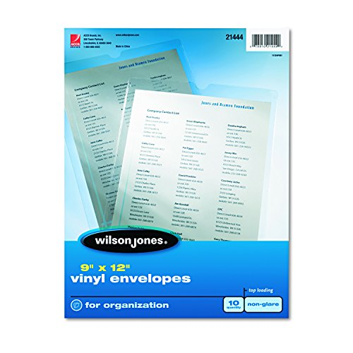 Envelope Pouches, Non-Glare Finish, Clear, 10/Pack